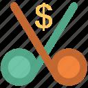 cut dollar, deduction, dollar decreasing, economy concept, financial crisis, mitigate, shear icon