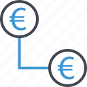 business, connect, euro, money, revenue, sign icon