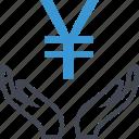 business, hand, hands, money, yen icon