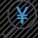 business, interest, magnifying, revenue, yen icon