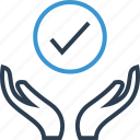 approved, check, good, hands, mark icon