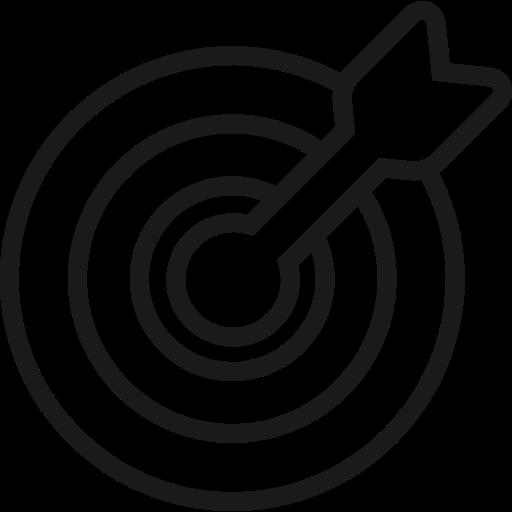 achieve, aim, bullseye, goal, marketing, target icon