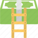 expense, money ladder, promotions, salary, savings icon