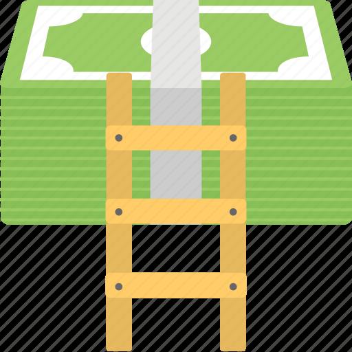 expense, money ladder, promotions, salary, savings icon