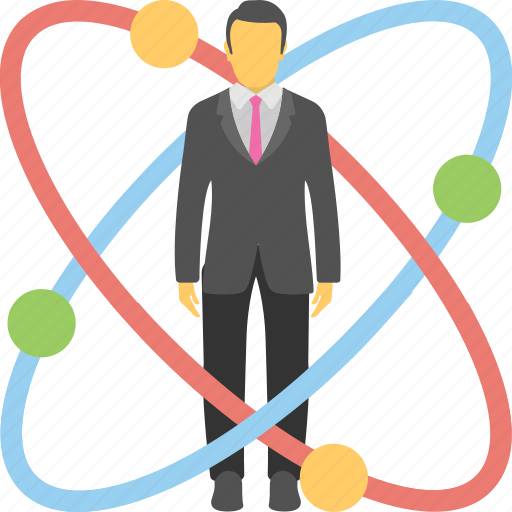 business expert, digital man, genius man, mastermind, molecule man icon