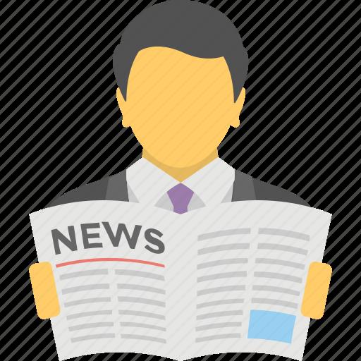 businesspeople, community newspaper, news, newspaper reading, newsprint icon