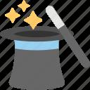 magic show, magic trick, magician cap, magician hat, top hat icon