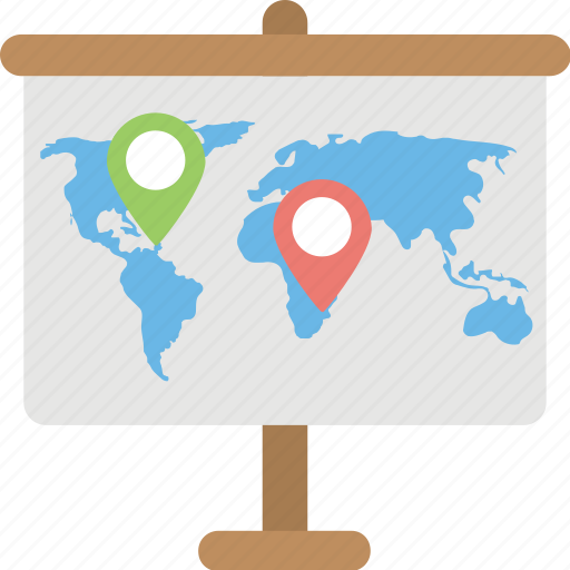 cartography, exploration, geography, projection screen, tripod map icon
