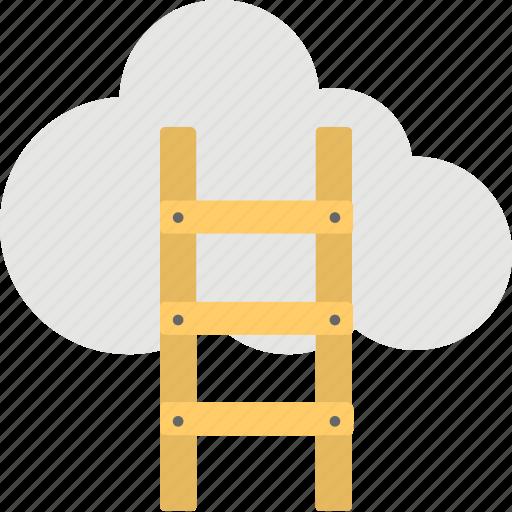 achievement, business, cloud hosting, growth, ladder icon