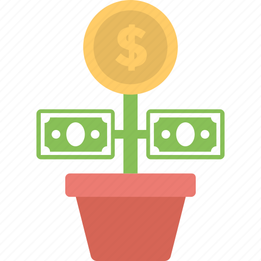 business growth, commerce, dollar plant, investment, money plant icon
