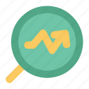 analysis, analytics, chart, magnifying, research, search graph, statistic icon
