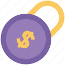 currency lock, locked, login, padlock, password, privacy, security icon