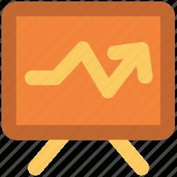 chart, decreasing, diagram, graph board, loss, presentation chart icon