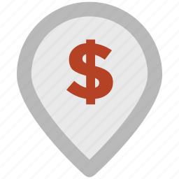 bank, bank location, dollar sign, gps, location, map pin, navigation icon