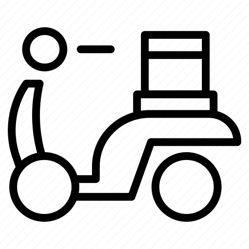 bike, courier, delivery, parcel, scooter, travel icon