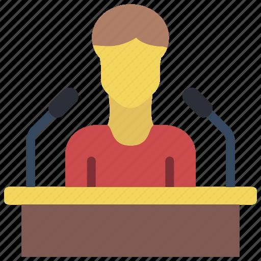 business, conference, seminar, speech, user icon