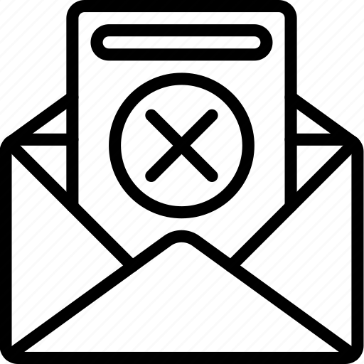 business, declined, email, rejected icon