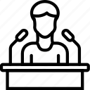 business, conferrence, seminar, speech, user icon