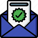 business, conversion, email, mail, read, success, tick icon