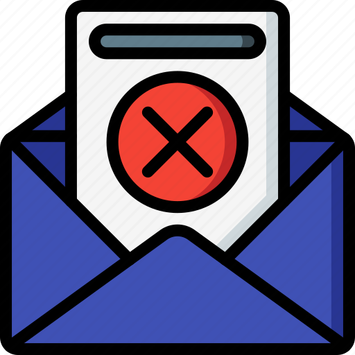 business, declined, email, mail, rejected icon