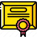 business, certificate, diploma, yellow icon