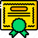 business, certficate, diploma, yellow icon