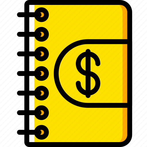 accounts, book, business, saes, yellow icon