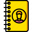 address, book, business, contact, yellow icon