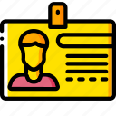 business, card, id, identification, yellow icon