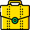 breifcase, business, storage, yellow icon