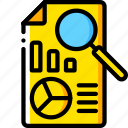 business, document, file, find, graph, search, yellow icon