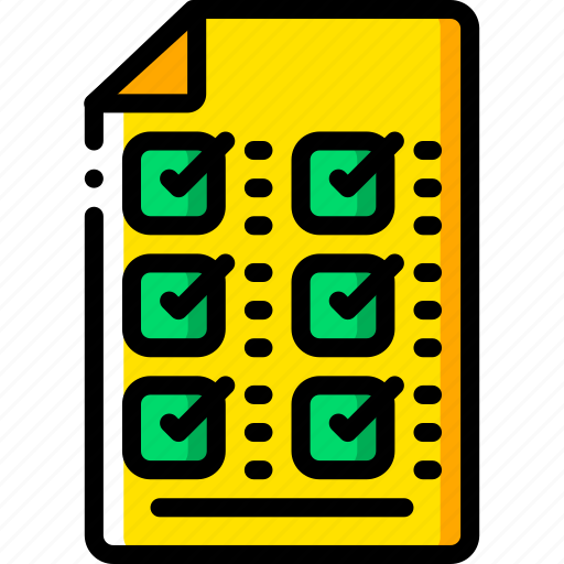 business, check, document, list, yellow icon