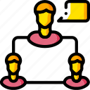 business, chat, group, user, yellow icon