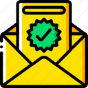 business, conversion, email, mail, success, tick, yellow icon