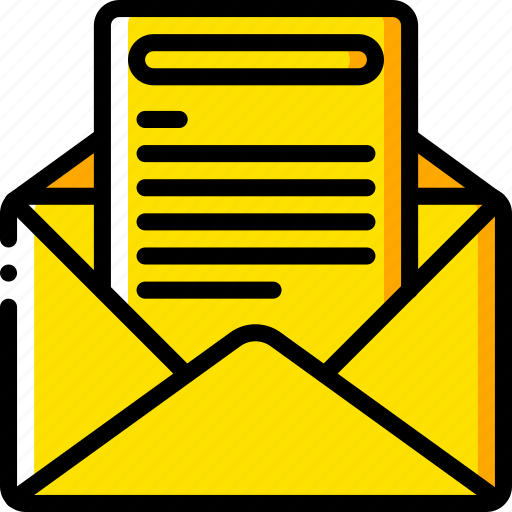 business, email, mail, opened, read, yellow icon