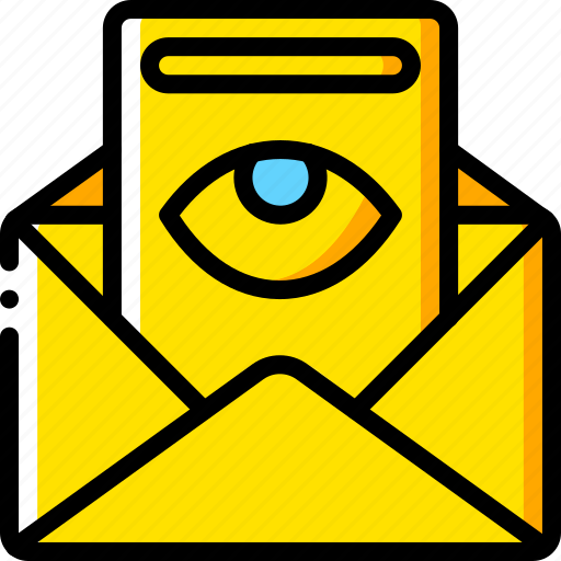 business, email, mail, read, viewed, yellow icon