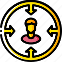business, focused, sales, targeting, user, yellow icon