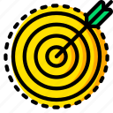 business, focussed, sales, target, yellow icon