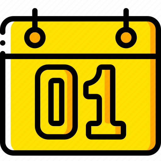 business, calendar, date, yellow icon