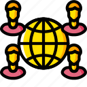 business, global, globe, international, users, world, yellow icon