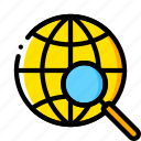 business, find, global, globe, search, world, yellow icon