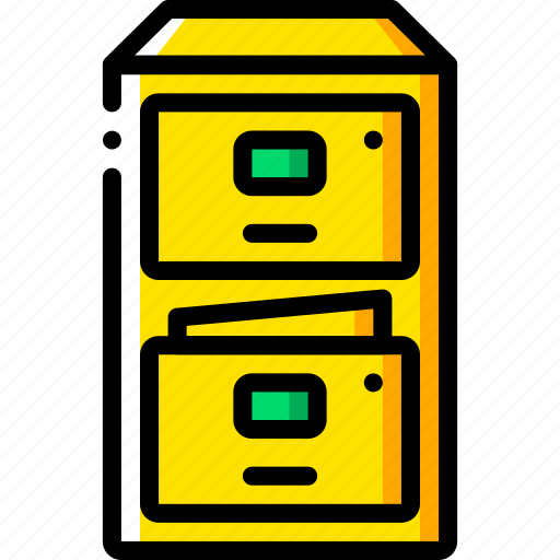business, cabinet, filing, furniture, storage, yellow icon