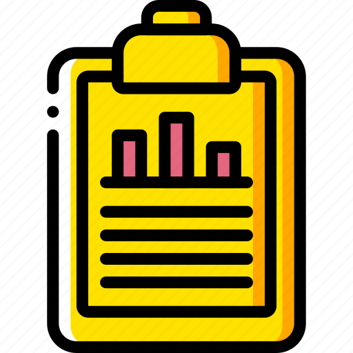 business, chart, clipboard, document, graph, yellow icon