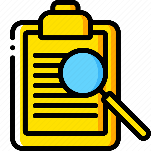 browse, business, clipboard, document, find, search, yellow icon