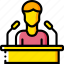 business, conference, seminar, speech, user, yellow icon