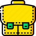 breifcase, business, satchel, storage, yellow icon