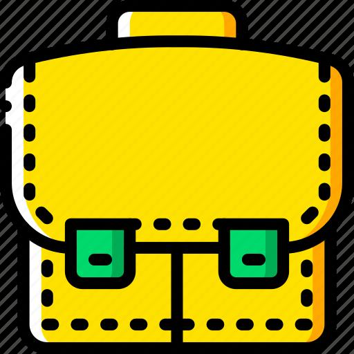 breifcase, business, satchel, storage, yellow icon