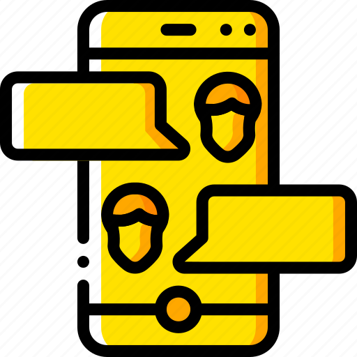 business, chat, iphone, messaging, mobile, yellow icon