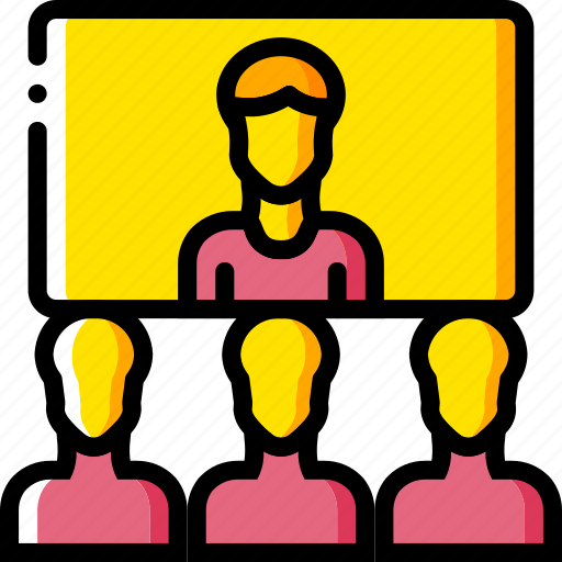 business, conference, messaging, screen, users, video, yellow icon