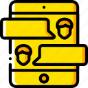 business, conference, ipad, messaging, mobile, yellow icon